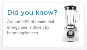 Did you know? Around 33% of residential energy use is driven by home appliances.